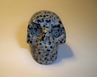 Gemstone Skull Carved in Dalmation Jasper Home Decor, Collectible Figurine, Spiritual, Metaphysical, Carved Black and White Skull