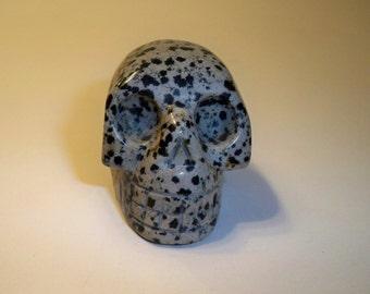 Gemstone Skull Carved  Dalmation Jasper Skull Home Decor, Collectible Skull  Figurine, Spiritual, Metaphysical, Carved Black and White Skull