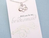 Bridesmaid Necklace | Will You be my Bridesmaid Gift | Infinity Heart Necklace | Infinity Charm Pendant | Sterling Silver | B05