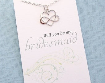 Bridesmaids Gifts | Bridesmaid Necklace, Infinity Heart Necklace, Bridal Party Gift, Bridesmaids Jewelry, Bridal Party Gifts, Wedding | B05