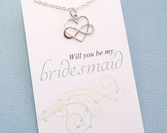 Bridesmaid Necklace | Bridesmaids Gift, Infinity Heart Necklace, Bridal Party Gift, Bridesmaids Jewelry, Bridal Party Gifts, Wedding | B05