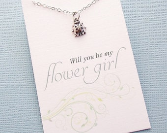 Flower Girl Gift   Ladybug Necklace, Flower Girl Necklace, Flower Girl Jewelry, Botanical, Flower Girl Gifts, Bridesmaids Jewelry   B01