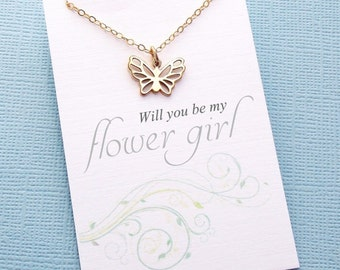 Flower Girl Gifts | Butterfly Necklace, Flower Girl Necklace, Flower Girl Jewelry, Botanical Jewelry, Bridal Party Gifts, Wedding | B01