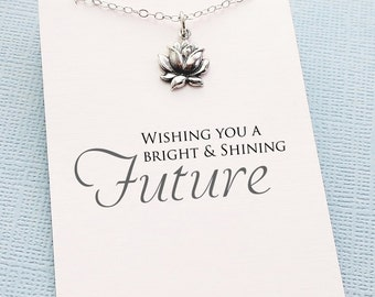 Graduation Gifts | Silver Lotus Necklace, Inspirational Graduation Gifts for Her, Student Gifts, Class of 2017, Graduation Gifts | G06