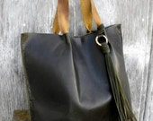 Leather Tote Bag in Forest Green with Tassel Hand Made by Stacy Leigh