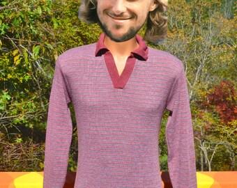 vintage 70s velour polo shirt SOFT stripes maroon sweatshirt v-neck collar Medium Small leisure esteem