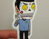 Spock Calavera Tattoo Die Cut Vinyl Sticker