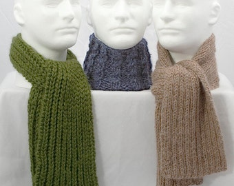 Trio of Manly Scarves Knitting Pattern - 3 variations - PDF