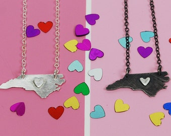 Super Petite--Tiny NC Necklace with RAISED HEART silver or blackened silver