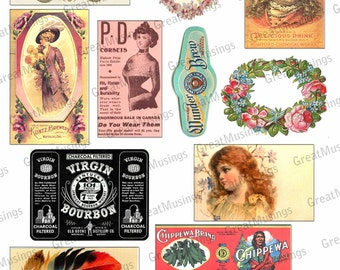 Sale Vintage Ads Labels Antique cigar ads Digital Download Collage Sheet altered art Scrapbook Images No.101