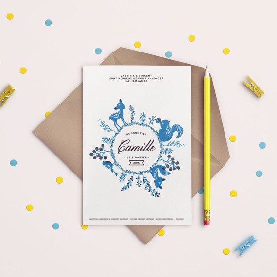 Personalised Baby Announcement Card - Birth Announcement Card - Woodland card