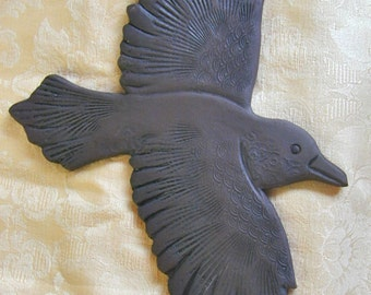 Ceramic Raven wall hanging for home or garden