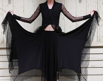 Spider's Web Circle Skirt with Cobweb Lace Detail