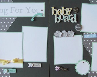 12x12 Premade Scrapbook Pages -- WAITING FOR YOU -- ExPeCTiNG a BaBY- i'm pregnant, pregnancy layout, baby boy or girl, ultrasound, shower
