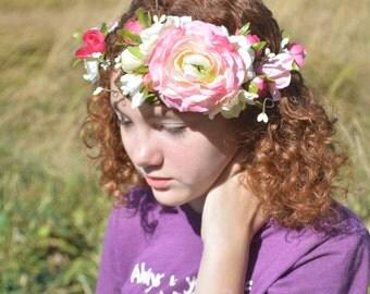 Pink Bridal Crown, Woodland Flower Crown, Floral Bridal Crown, Wedding Crown, Boho Flower Crown, Rose Flower Crown, Pink Ivory Flower Crown