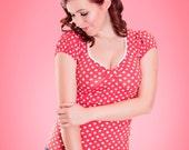 BETSY_20 Classic Rockabilly Shirt RED POLKADOTS