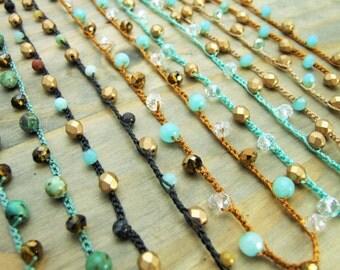 Crocheted Necklace, Gemstones, Czech Glass, Brass, Handmade Beaded Necklace, DIY Crocheted Necklace, BOHO, Bridesmaid Jewelry, Patina Queen