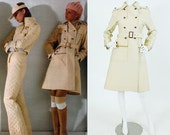 Courreges 1973 Couture Future Vintage Documented Rare Cream Heavy Trench Coat