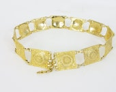 1970's Vintage Bohemian Bourgeois Square Gold Tone Heavy Metal Chain Link Belt