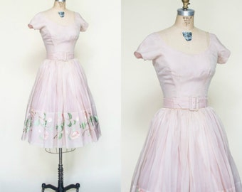 1950s Skirt Blouse Set --- Vintage Pink Dress