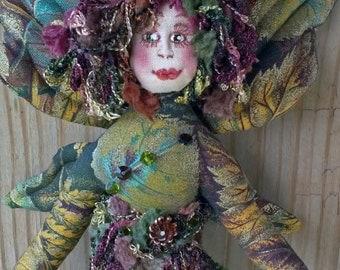 Enchanting OOAK fiber sculpted Fall Fairy with real acorn cap wall accent