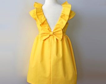 Yellow Sunflower Dress, Flower Girl Dress, Toddler flower girl, Yellow Wedding, Bright Yellow Flower Girl Dress, Girls Yellow Birthday Dress