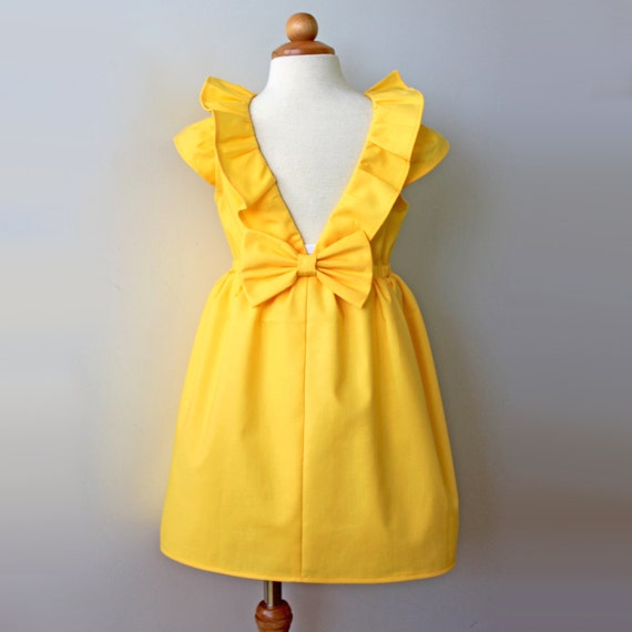Yellow Dandelion Dress for Toddler and Girl, Birthday Party or Flower Girl