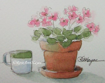 Pink Flowers Original Watercolor Painting Flower Floral Violets Garden ACEO Gift Miniature