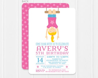 Gymnastics Birthday Invitations - gymnastics birthday party - 2 sided printing, choose any color