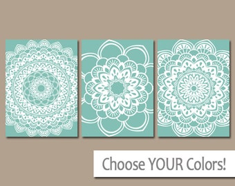 AQUA BATHROOM Wall Art, CANVAS or Prints Bedroom Artwork, Bathroom Pictures, Tribal Mandala Home Decor Set of 3 Choose Your Colors