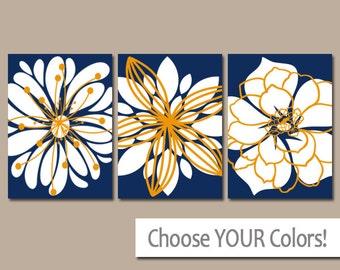 NAVY ORANGE Wall Art, Canvas or Prints, Orange Blue Bathroom Artwork, Navy Bedroom Pictures, Flower Outlines Dahlias Set of 3 Home Decor