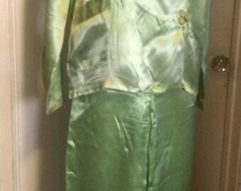 Vintage 30's Silk Satin Lounge Set, Chinoise, Pajamas, Gold Embroidery, Jacket & Pants, Gold Dragon, Mint Green, Size S/M