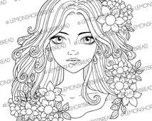Digital Stamp Flowers and Curls Girl, Digi Stamp PNG, Summer Floral, Fantasy Anime, Cardmaking Supplies, Coloring Page, Instant Download