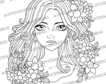 Digital Stamp Flowers and Curls Girl, Digi Download, Summer Floral, Fantasy, Coloring Page, Clip art, Scrapbooking Supplies