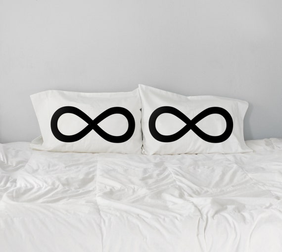 Infinity Pillow Case Set, couples gift, wedding gift, romantic gift, husband gift for him, gift for her, 8th anniversary, cotton bedding