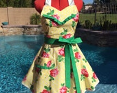 Retro Rose Sassy Apron, Sweetheart Bib with Ruffles, Womens Aprons, Misses, Plus Sizes, Pin Up, Kitchen, Michael Miller Retro Florals Lucy
