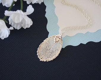 Silver Rose Leaf Necklace, Real Leaf Necklace, Rose Leaf, Sterling Silver Leaf Necklace, LC166