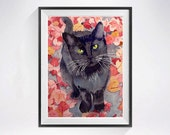 Black Cat painting Watercolor PRINT, Animal art black kitty watercolour painting, Kitten aquarelle cat illustration,  LaBerge Muren - Cat 9.