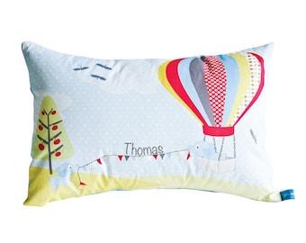 Boys Elephant & Hot Air Balloon personalised cushion