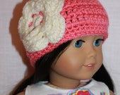 Upbeat Petites, coral pink crochet beanie hat with flower, crochet doll hat, 18 inch doll clothes,