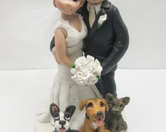 Wedding Cake Topper with Pets