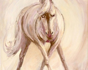 Abstract Horse, Original Oil, Dressage, Original Horse Painting, Palette Knife Oil Painting