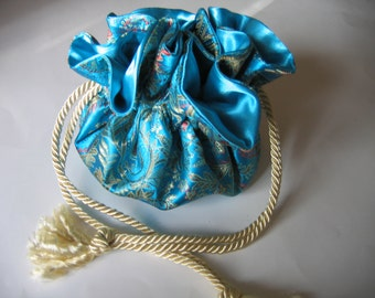 Jewelry Pouch Jewelry Bag Brocade Turquoise Gold Fuchsia