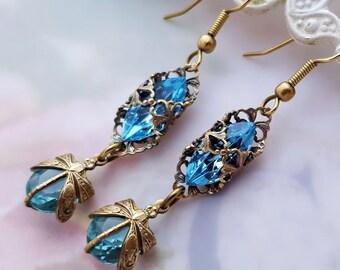 Dragonfly earrings Art Deco style filigree dangle earrings Federikas vintage filigree jewelry, drop earrings