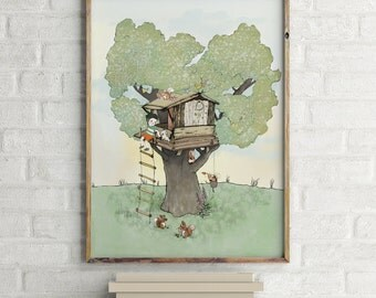 Fort, Tree house, Boys room decor, boys wall decor, baby shower boy, art for boys room, kids room decor, boy nursery decor