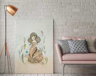 Pearl the mermaid and the seahorses - Girl Art - Holli - Nursery Wall Art - Nursery Decor - Childrens Art - Kids Wall Art - Nursery Art