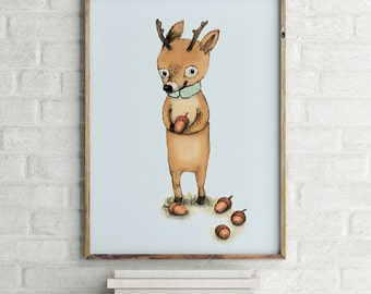 Deer with acorns - Animal Art - Holli - Nursery Wall Art - Nursery Decor - Childrens Art - Kids Wall Art - Nursery Art