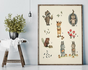 Animals Numbers - Numbers Poster Set - Educational Posters - Nursery Wall Art - Nursery Decor - Nursery numbers