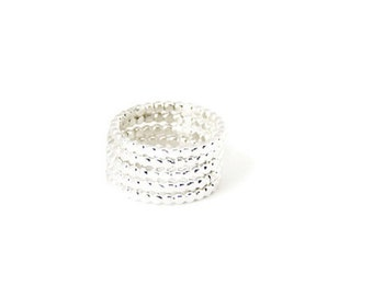 Skinny beaded stacking ring, modern dainty band, silver midi ring set, stackable comfort bands, minimal every day rings