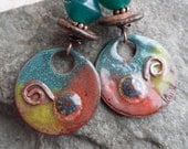Favorite Flannel ... Bicone Lampwork, Enameled Copper and Ceramic Wire-Wrapped Rustic, Boho Earrings